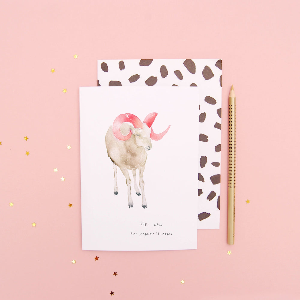 The Ram Aries Zodiac Greetings Card