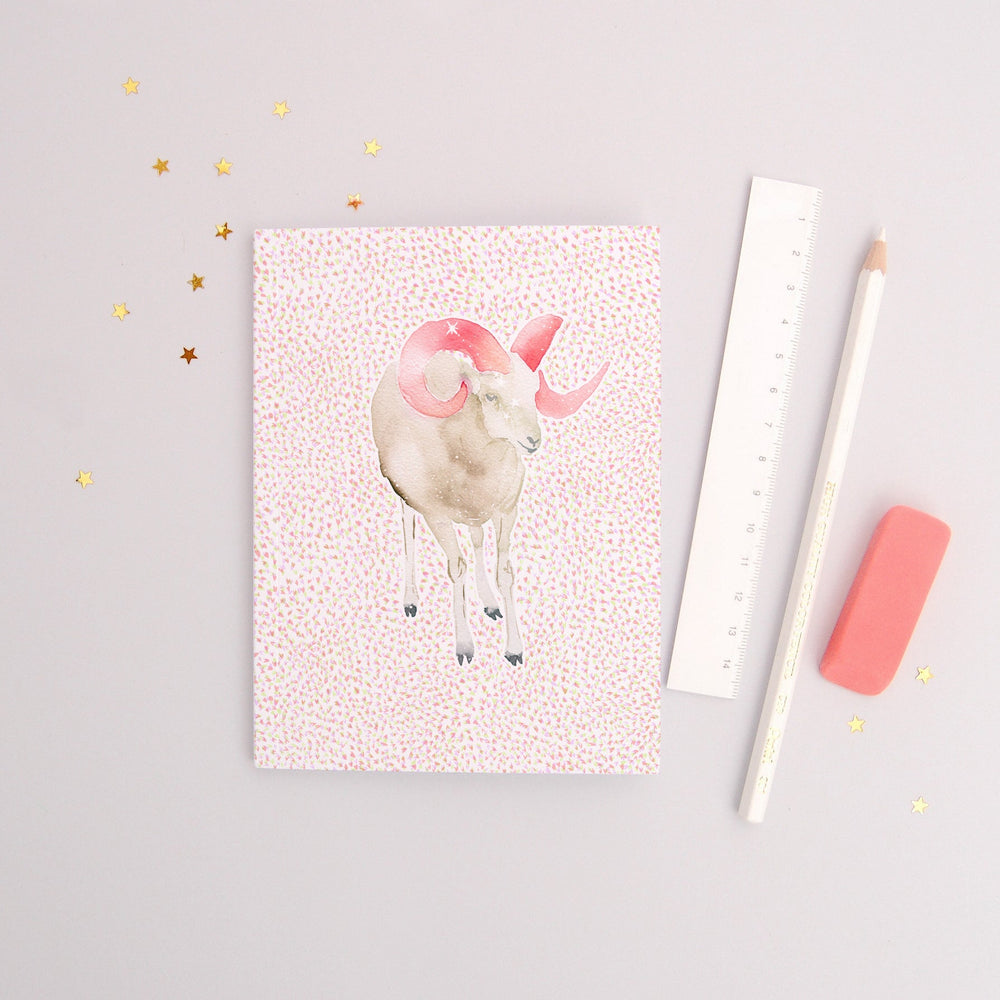 The Ram Aries Zodiac - Recycled Paper Notebook