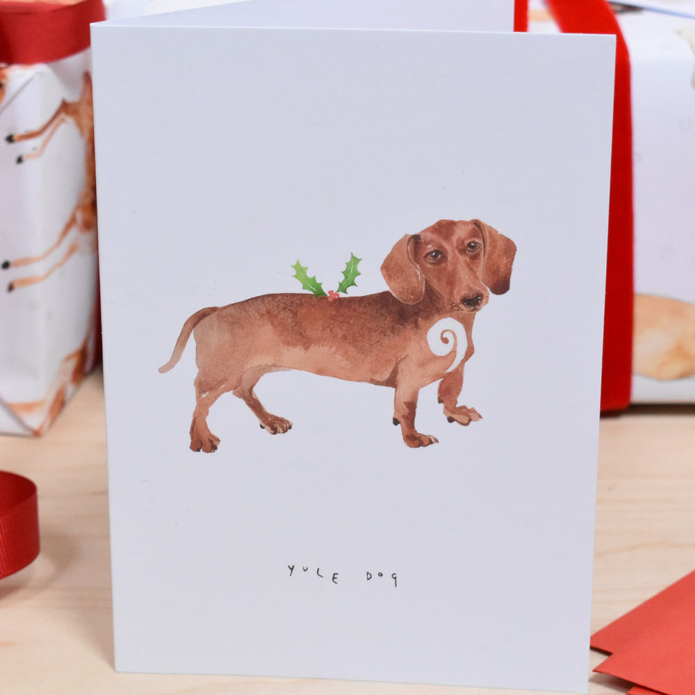 Yule Dog Daschund Christmas Card