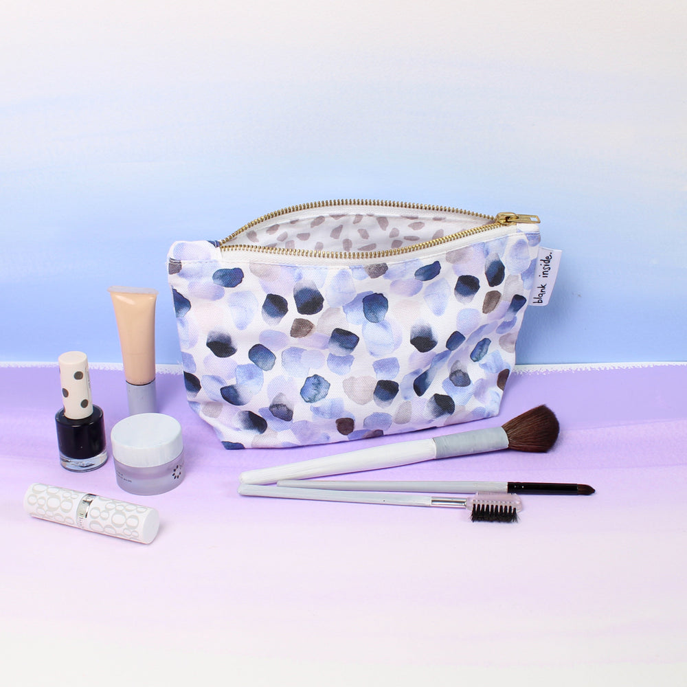 Petals Blue Makeup Bag