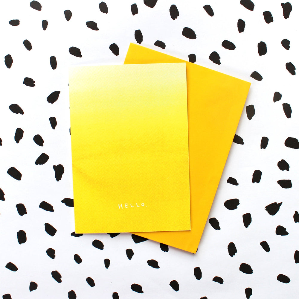Yellow Ombre Hello Greetings Card
