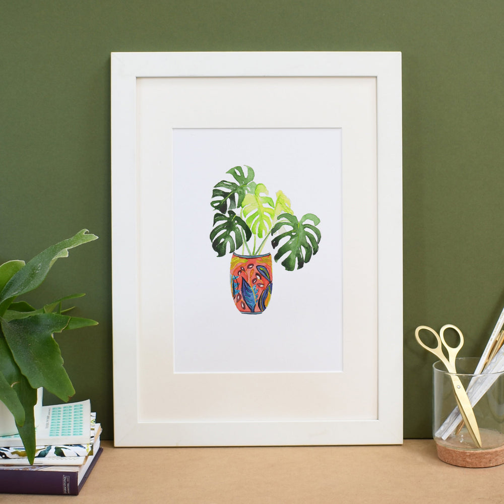 Monstera in red patterned plant pot Art Print