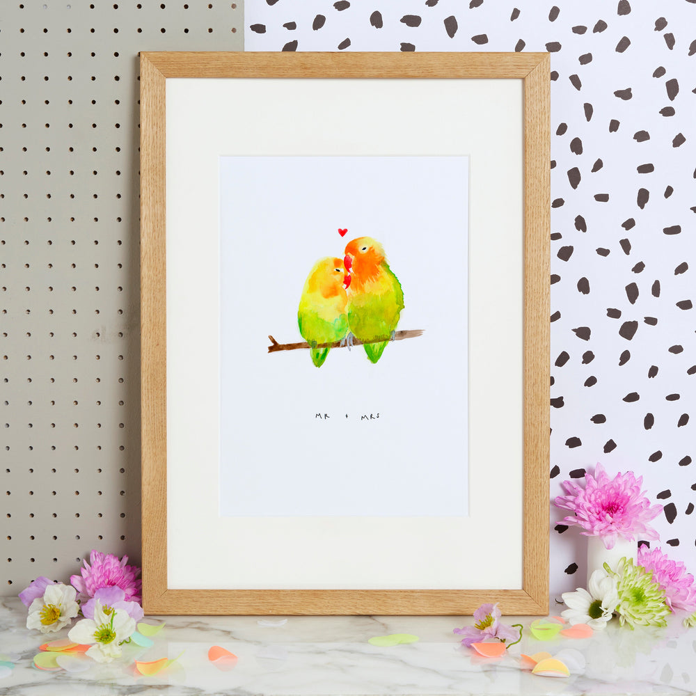 """Mr & Mrs"" Love Bird Print"