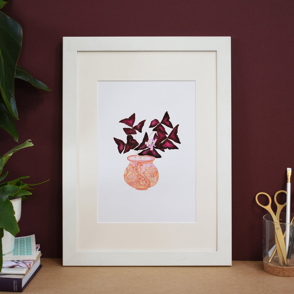 Oxalis in a patterned peach pot Art Print