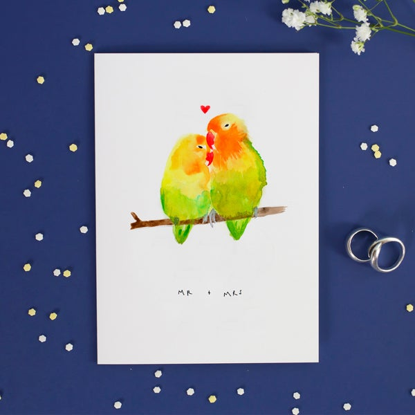 """Mr & Mrs"" Love Birds Greetings Card"