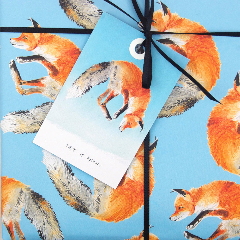 """Let it Snow"" Jumping Fox Gift Tag"