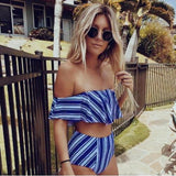 High Waist Striped Bikini Set Ruffled