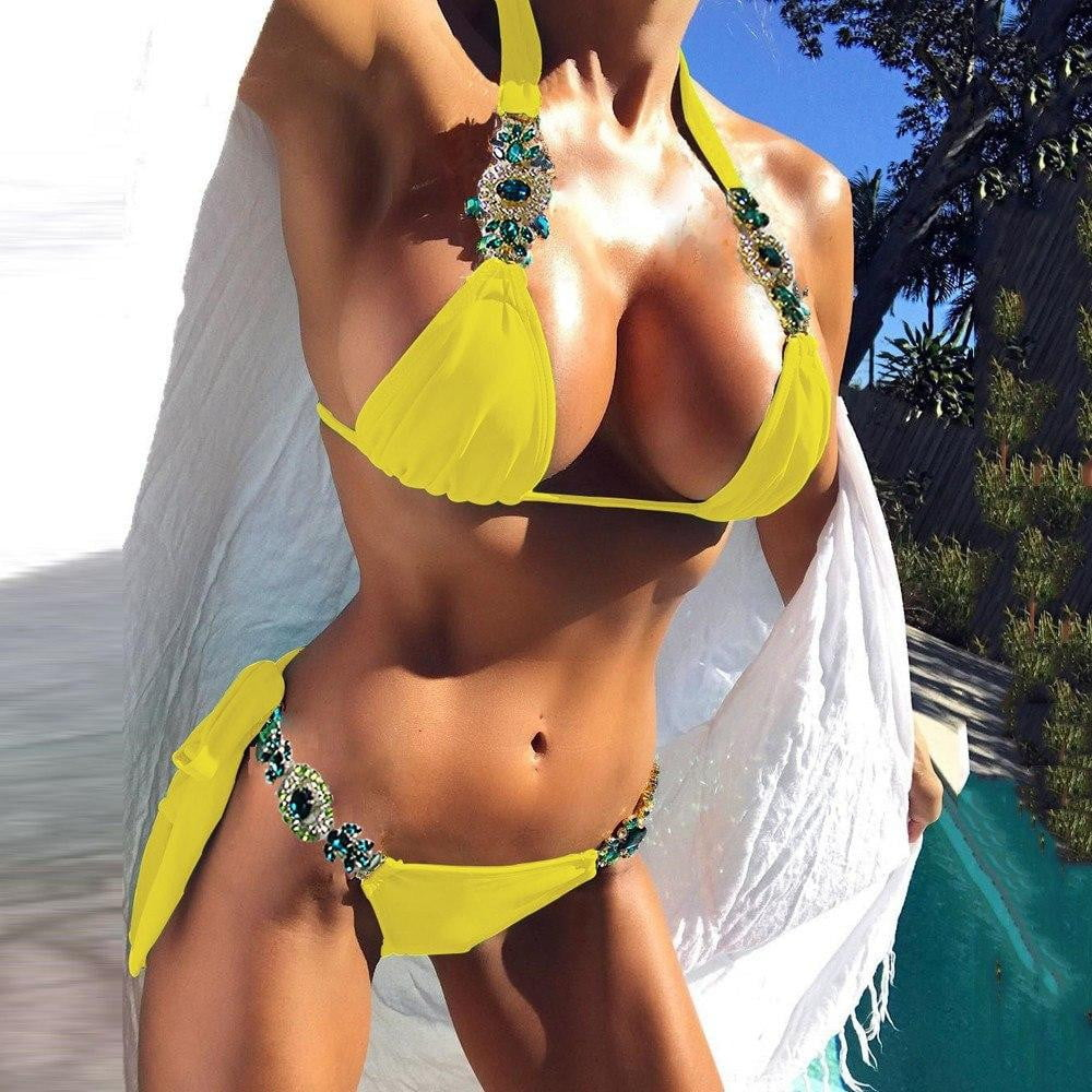2 Piece Crystal Jewelry Trim Bikini Set