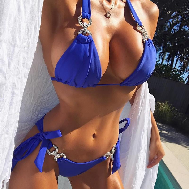 Knotted Crystal Bikini Set Push Up Bandage Swimwear
