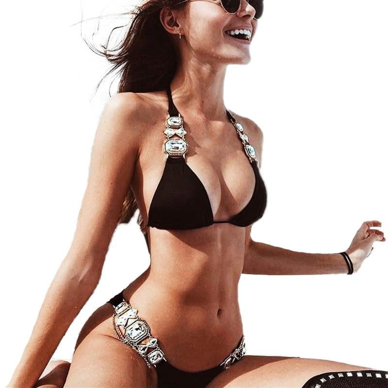 Sexy Shiny Diamond 2 Piece Brazilian Bikini Set