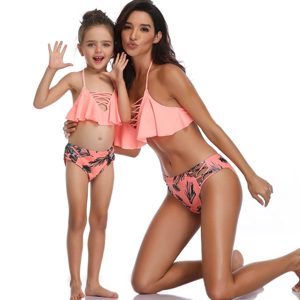Mom and Daughter Ruffle 2 Piece Swimsuit