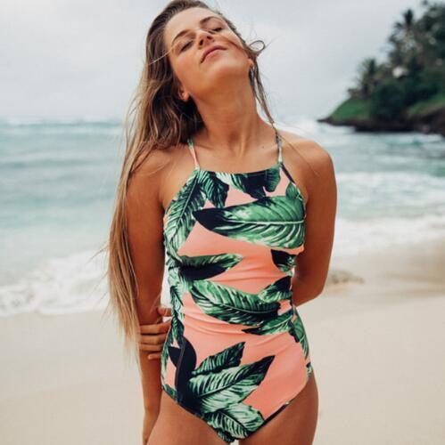One Piece Strappy Printed Swimsuit