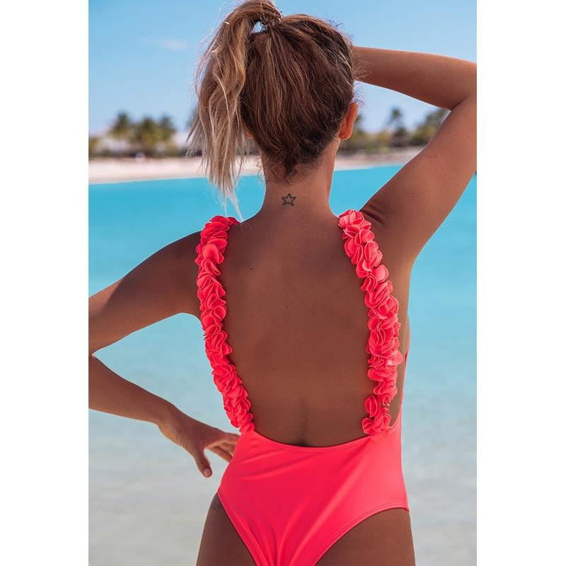One-piece Swimsuit Ruffle Shoulder