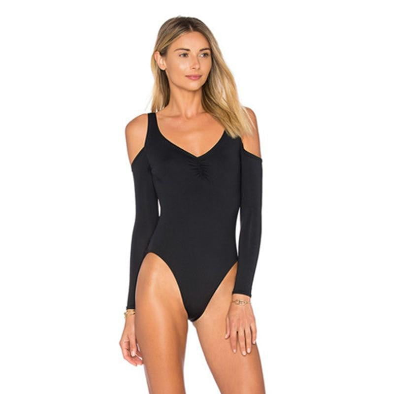 Solid Long Sleeve One Piece Swimsuit Cut Out Bodysuit