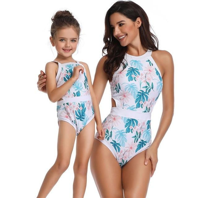Floral Printed Matching Swimsuit Mother and Daughter