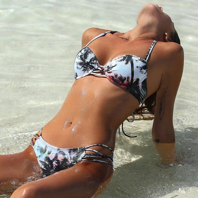 Leaf Print Brazilian 2 Piece Bikini Set