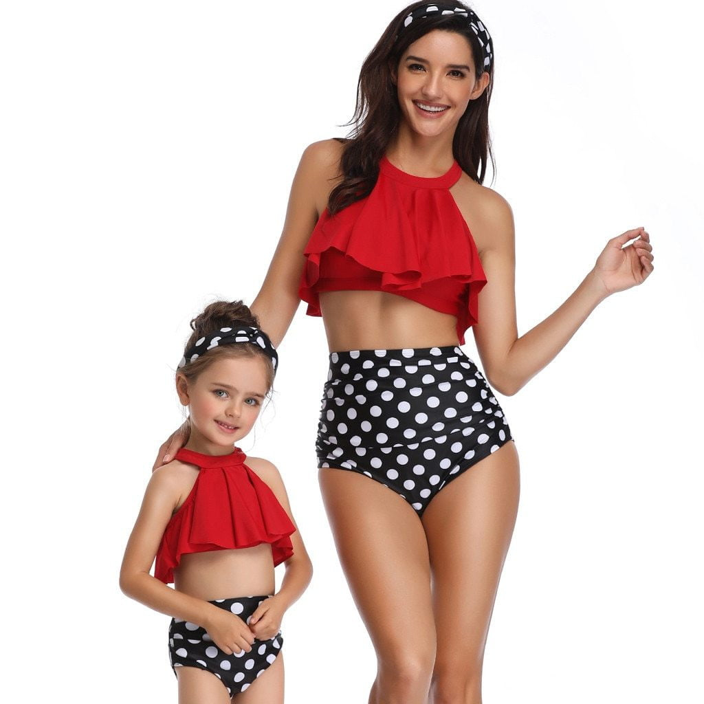 High-waisted Ruffle Mother And Daughter Swimsuit Family Matching