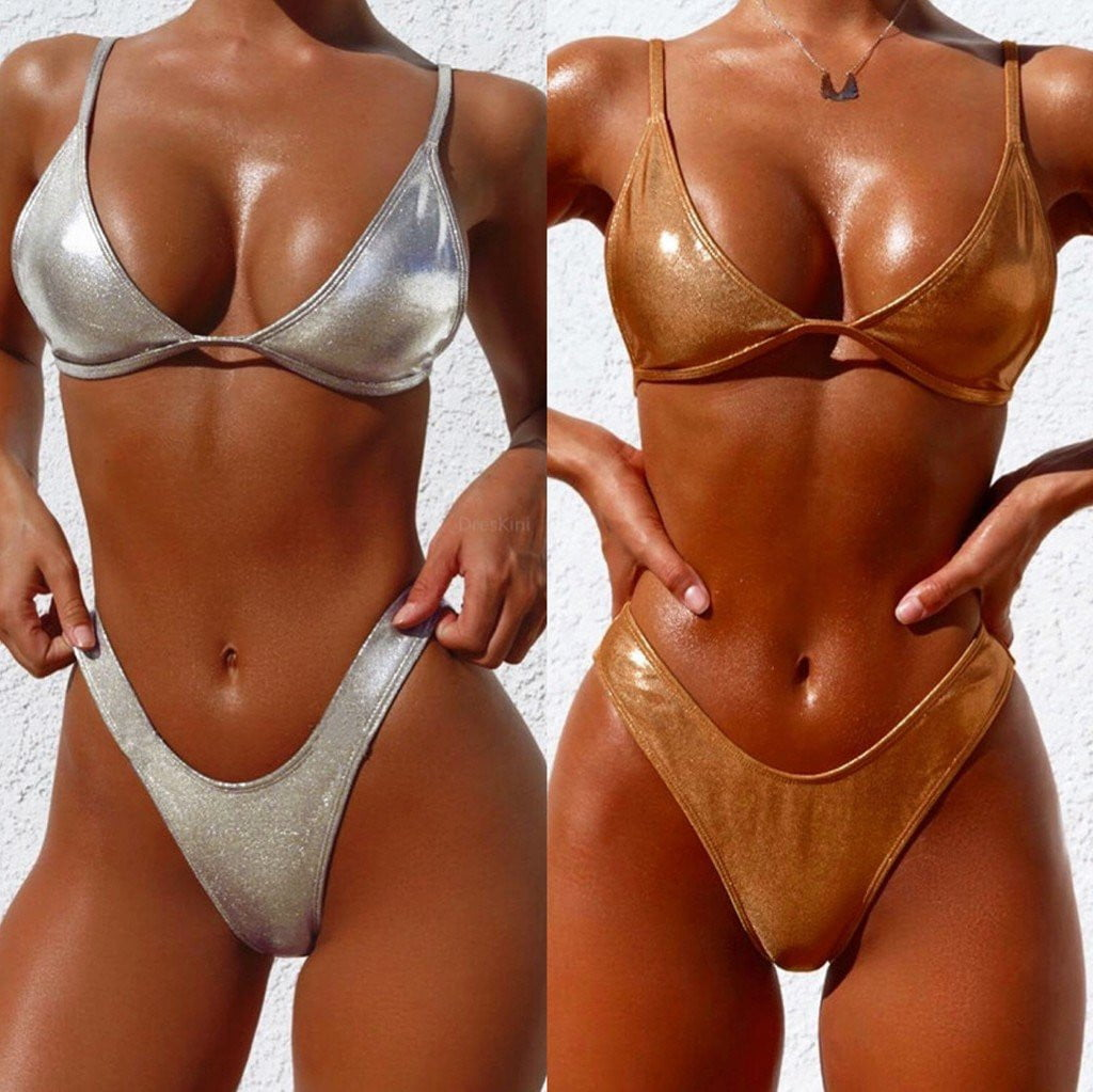 Shiny Gold/Silver Metallic Leather Scoop Neck Bikini