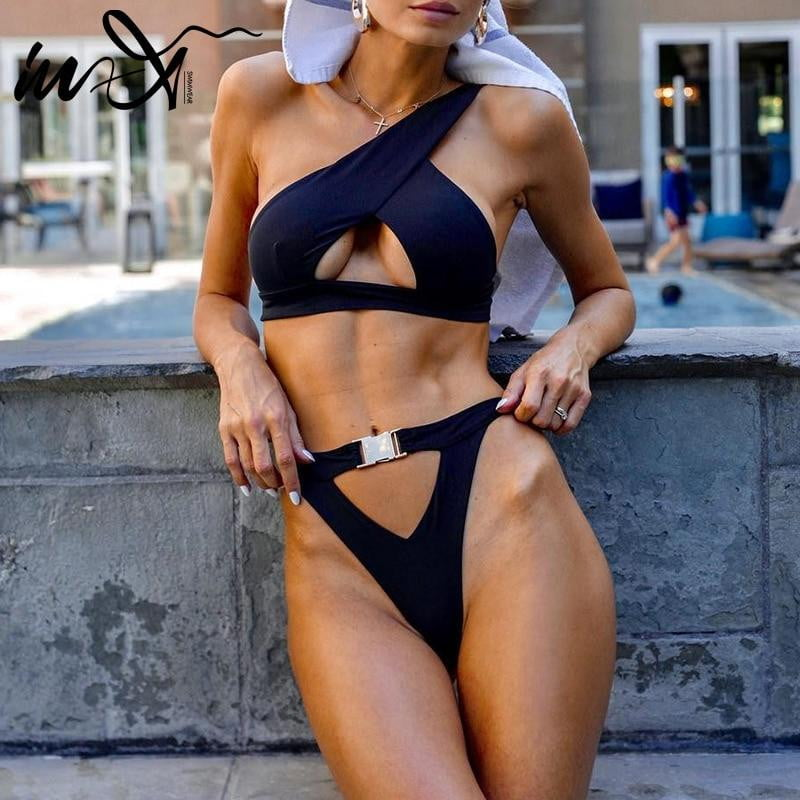 In-X One Shoulder Buckle High Cut Bikini Set