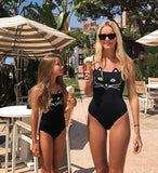 Mother Daughter 3D Black Cat Bikini Monokini Swimsuit One-Piece