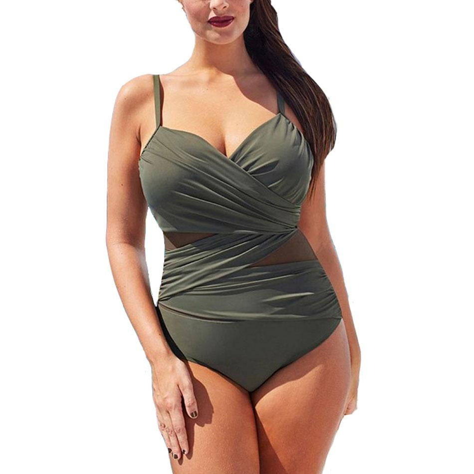 One Piece Swimsuit Mesh Patchwork Vintage Swimwear