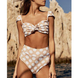 Summer High Waist Bikini Push Up Swimsuit Ruffle Polka Dot