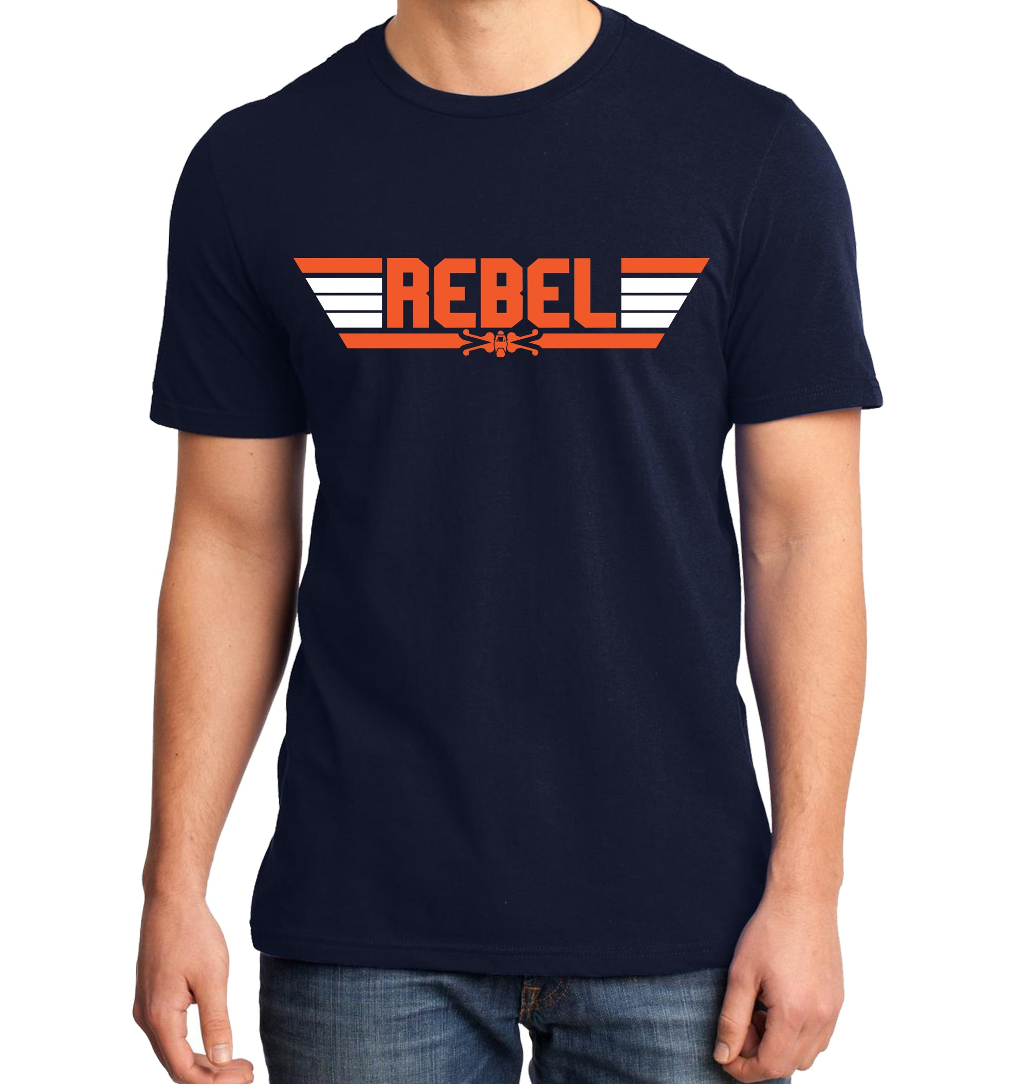 Top Gun Rebel Pilot T-Shirt on Model with Blue Shirt