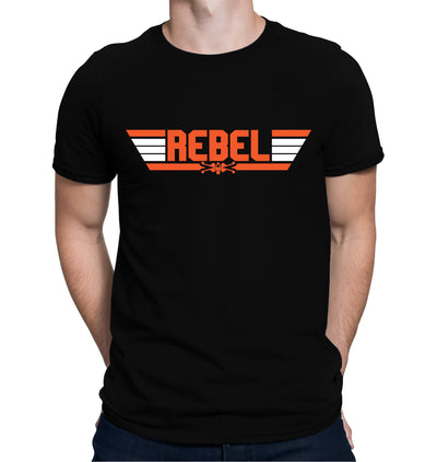 Top Gun Rebel Pilot T-Shirt on  Model with Black Shirt