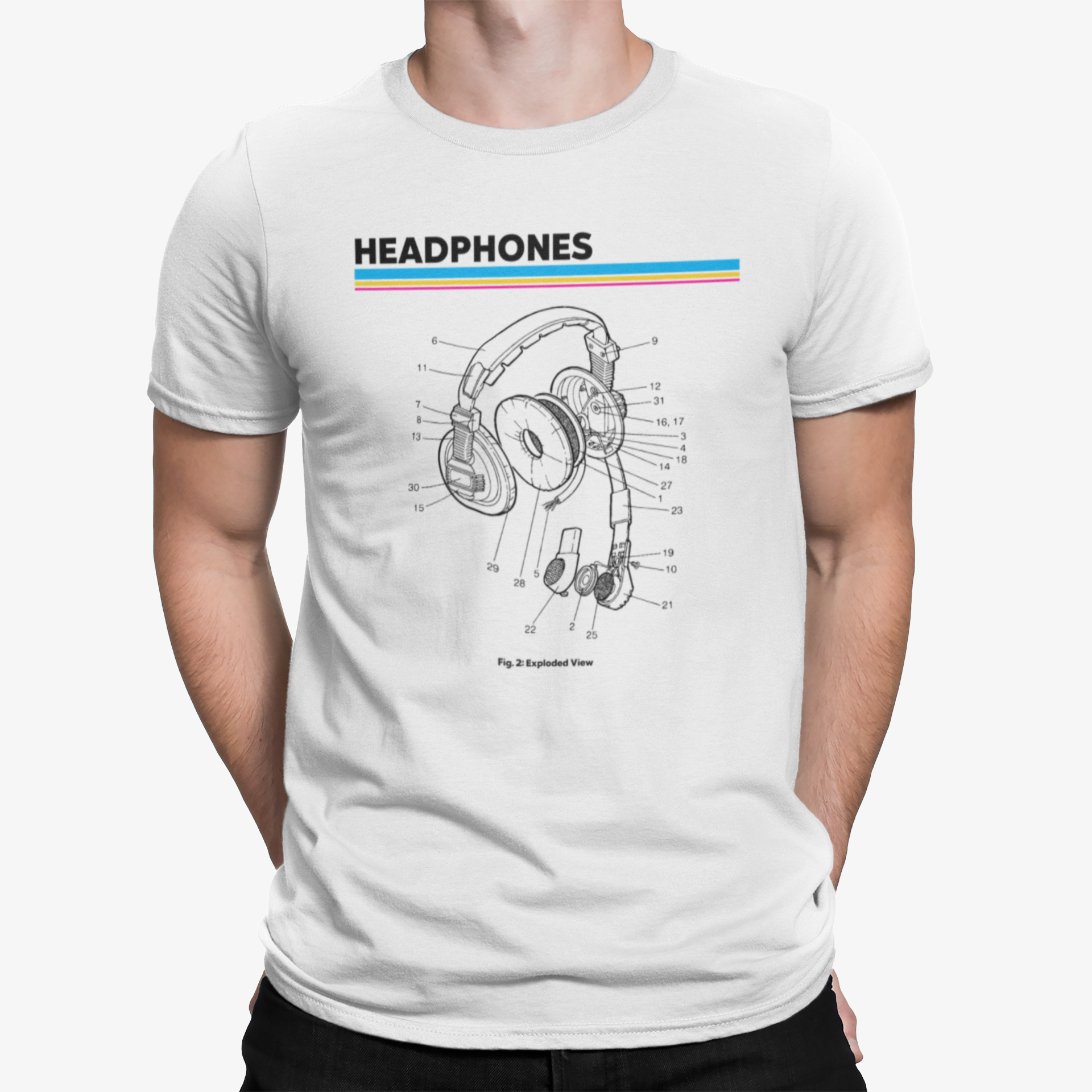 Retro Headphones Diagram T-Shirt