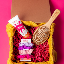 Load image into Gallery viewer, Natural hair smoothie, bamboo hair brush and scrunchies in a Kraft magnetic gift box