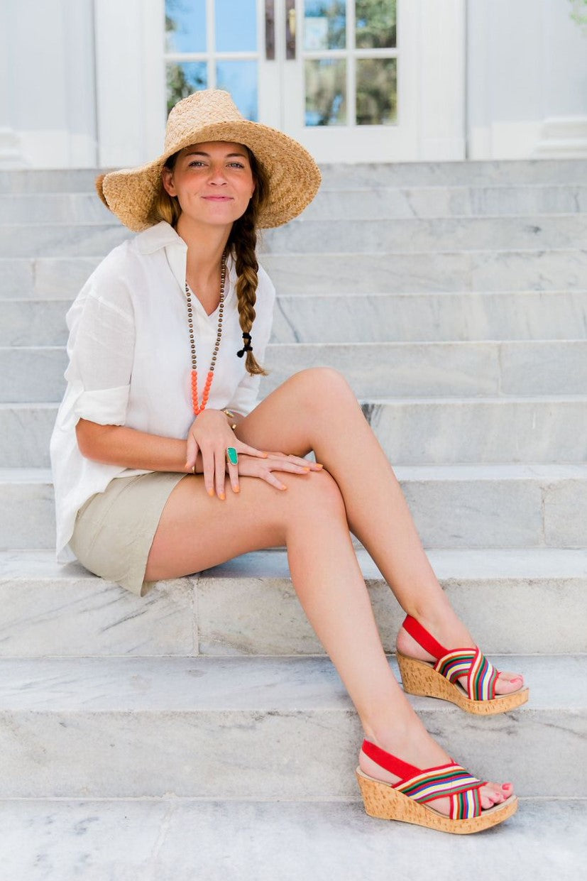 Charleston Shoe Co MED Cork Wedge Sandal in Red Multistripe