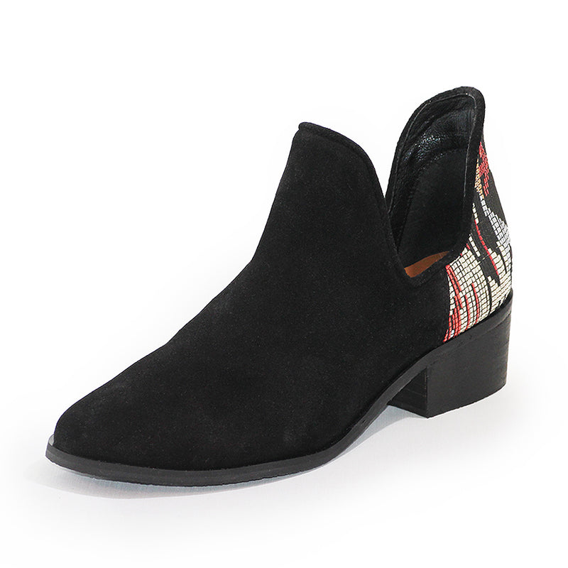 Charleston Shoe Co Aiken - Aztec Embellished Boot Black Bootie