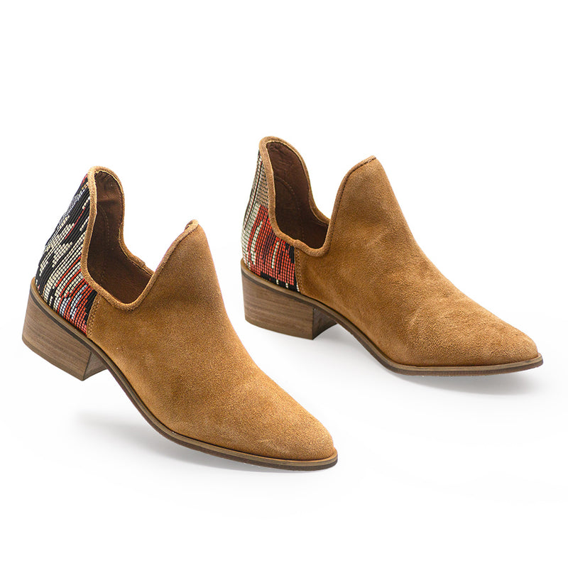 Comfortable leather fall booties - aztec embellished southwest beaded womens shoes
