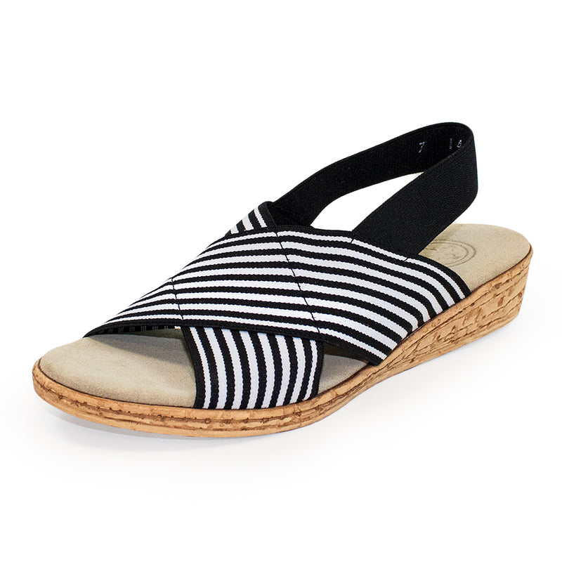 Atlantic Black Stripe - Charleston Shoe Company - Black Stripe Strappy cork sandal