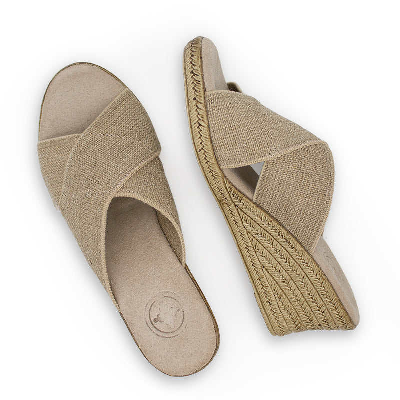 Backless Cannon - beige sandal wedge - shoe wedges | Charleston Shoe Company