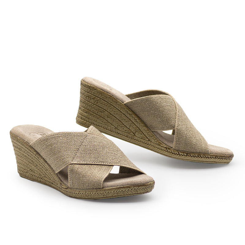 Backless Cannon - shoes wedges - beige sandal wedge - Charleston Shoe Company