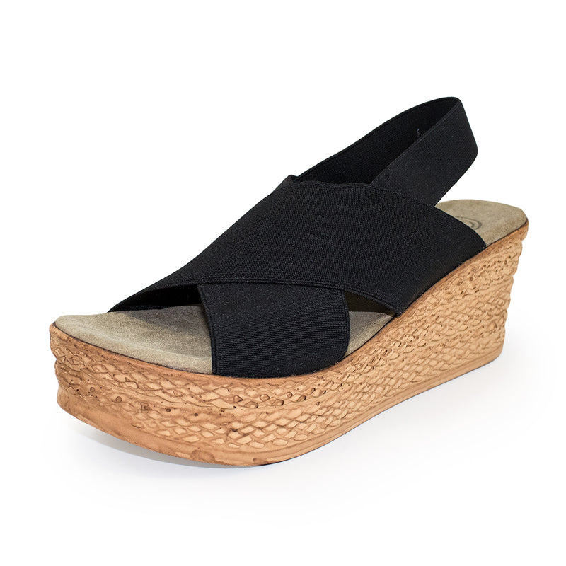 Balboa, platform wedge sandal, black wedges, wedges shoes | Charleston Shoe Company