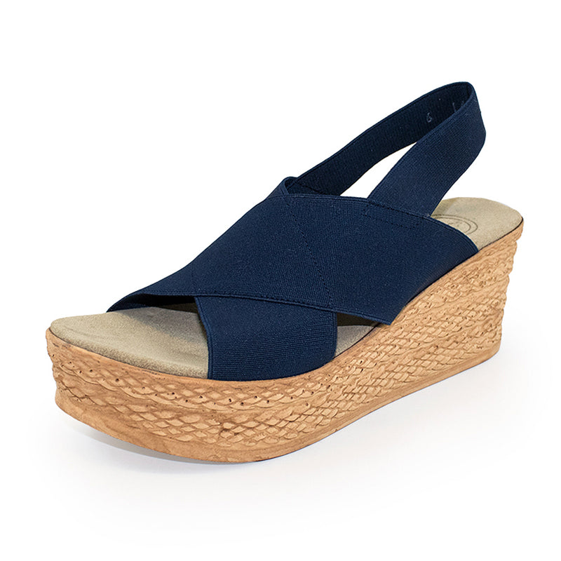 Balboa, navy wedge sandals, navy sandals | Charleston Shoe Company