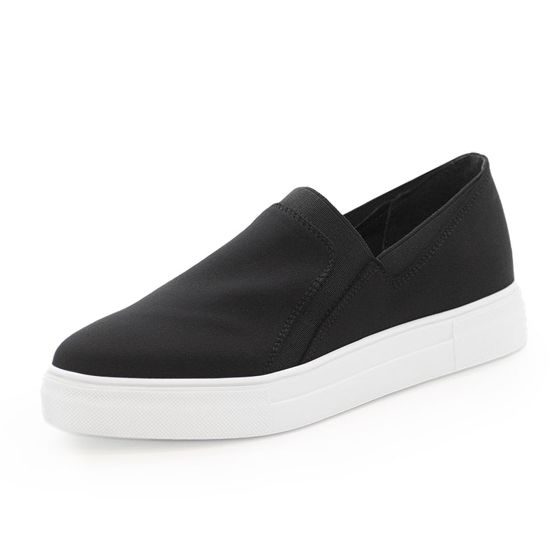 Black neoprene stretch fabric trainer sneakers