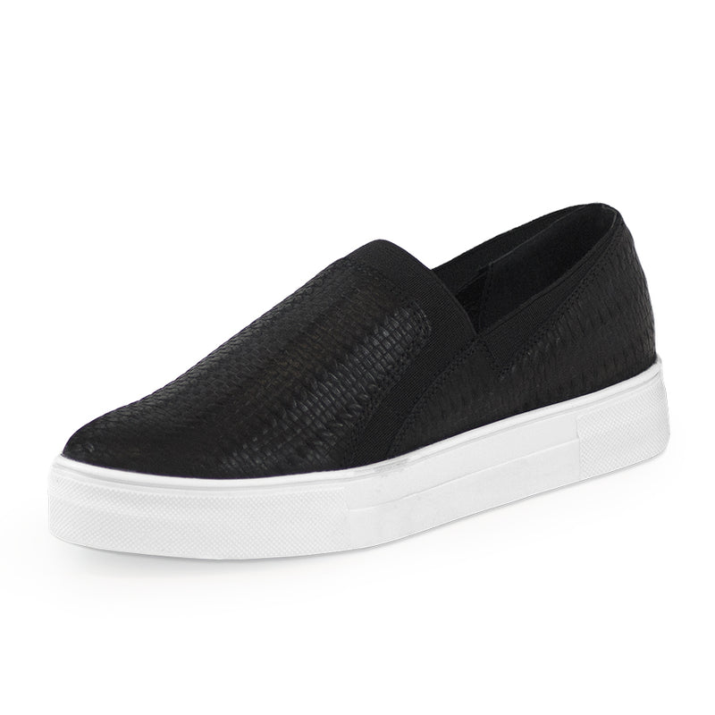 Black leather woven tennis shoes - Charleston Shoe Co