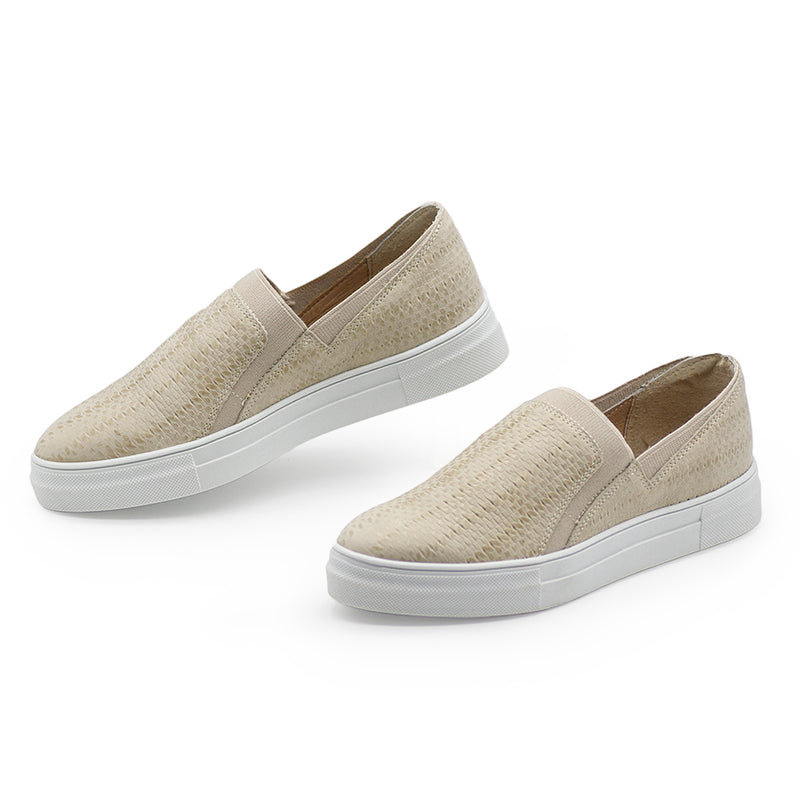 White leather woven sneaker - Charleston Shoe Co