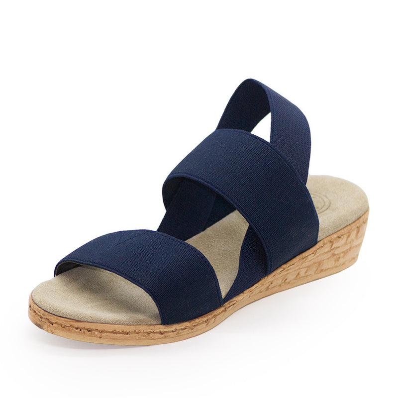 Collins, comfortable sandal wedges, navy sandals | Charleston Shoe Company