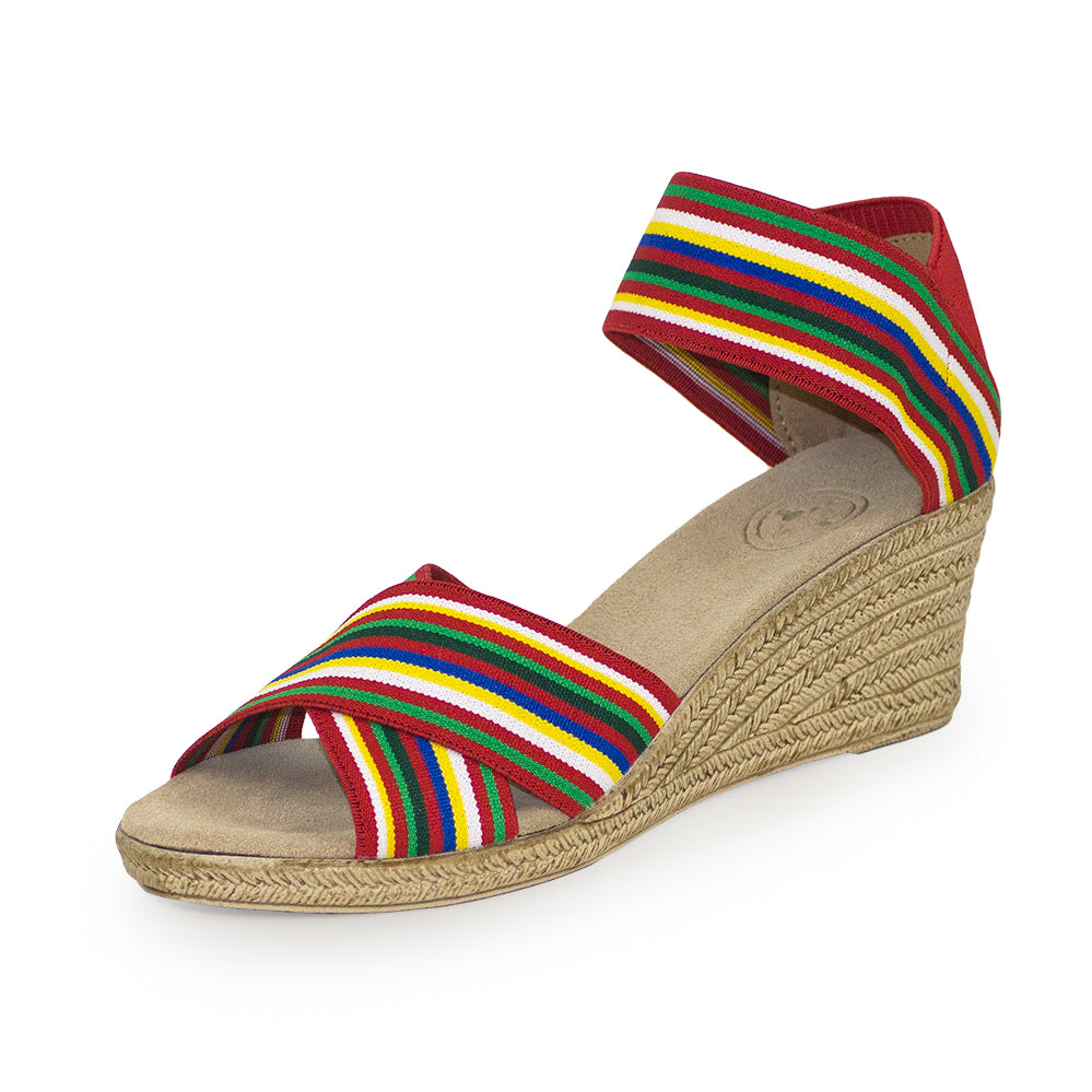 Cannon Stripe, cute wedge sandal red stripe | Charleston Shoe Company