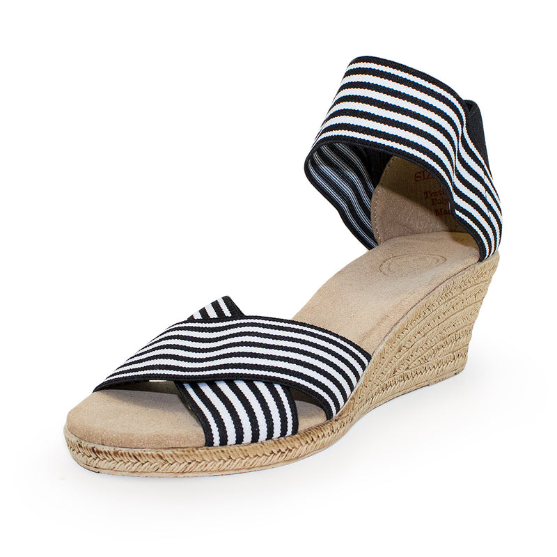 Cannon Stripe, black and white strip wedge heel sandal | Charleston Shoe Company