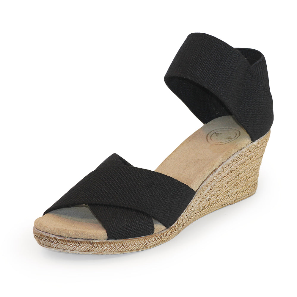 Cannon Solid - black wedge sandal | Charleston Shoe Company