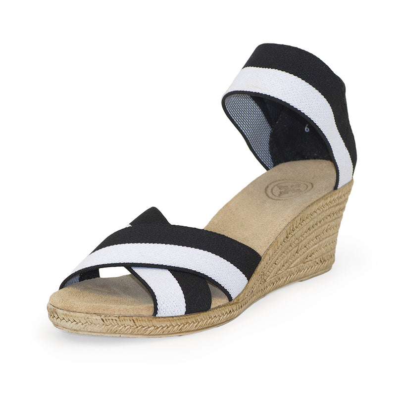 Cannon Two-Tone black and white sandal wedges | Charleston Shoe Company
