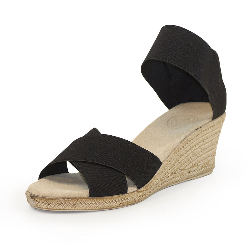 Cannon Solid - black sandal - cork wedge | Charleston Shoe Company