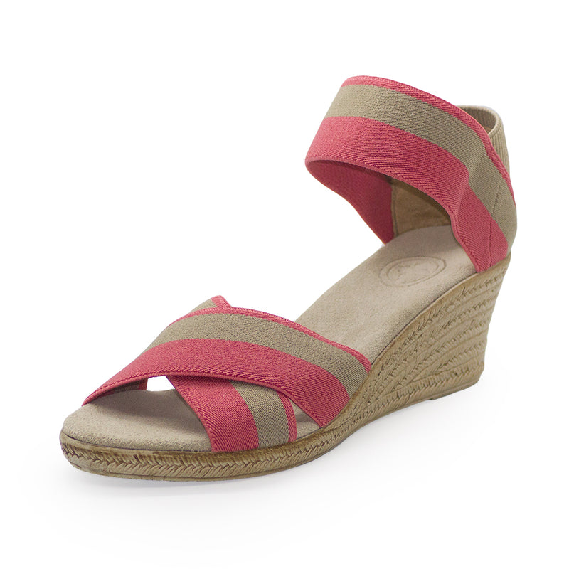 Cannon Two-Tone pink sandal wedges | Charleston Shoe Company