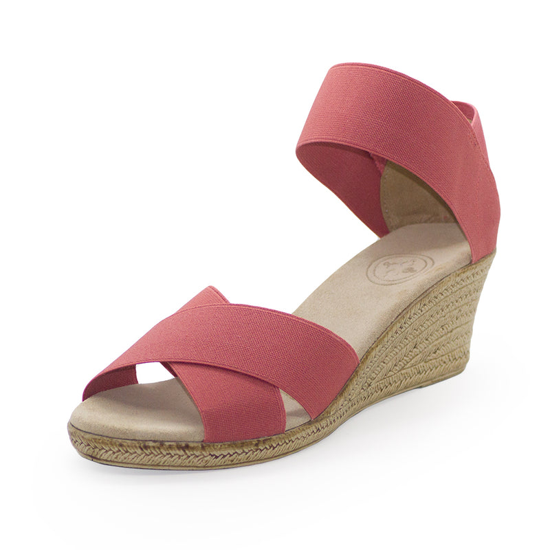 Cannon Solid - coral wedge sandal - cork wedge | Charleston Shoe Company