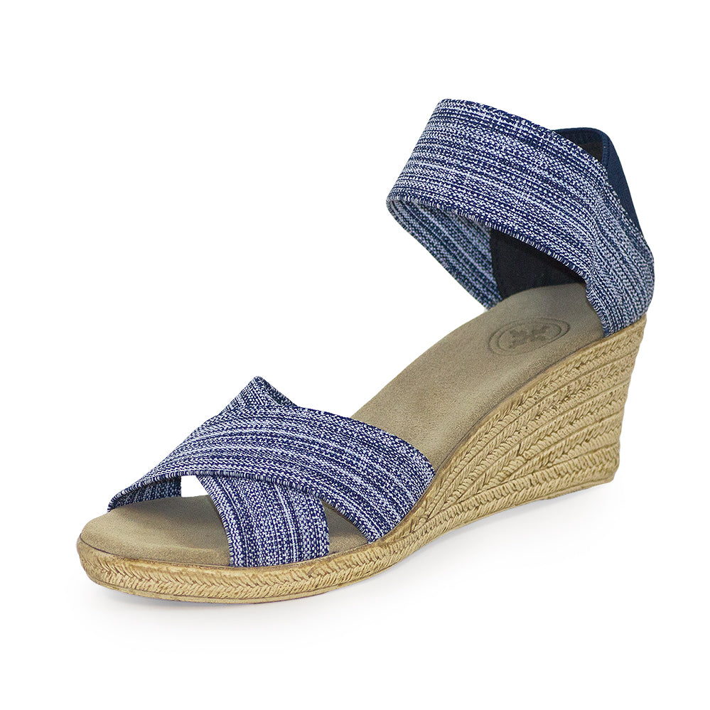 Cannon Solid - blue sandals wedge - cork wedge sandals | Charleston Shoe Company